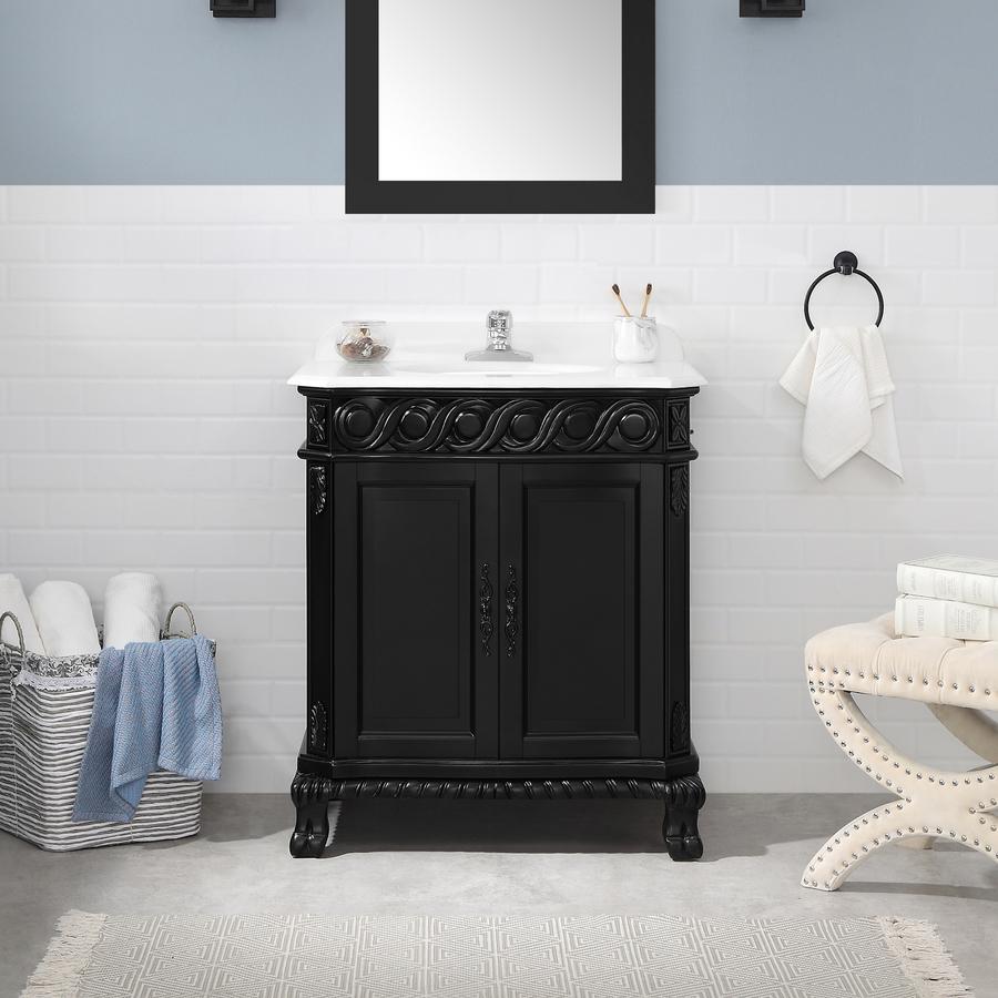 Shop ove decors antique black undermount single sink birch - 30 bathroom vanity with marble top ...
