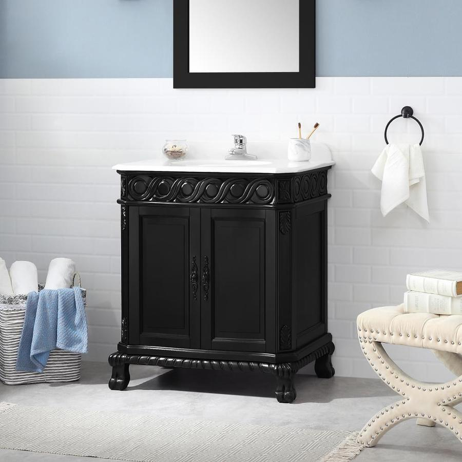 Ove Decors Trent 30 In Antique Black Undermount Single Sink Bathroom Vanity With White Engineered Stone Top In The Bathroom Vanities With Tops Department At Lowes Com
