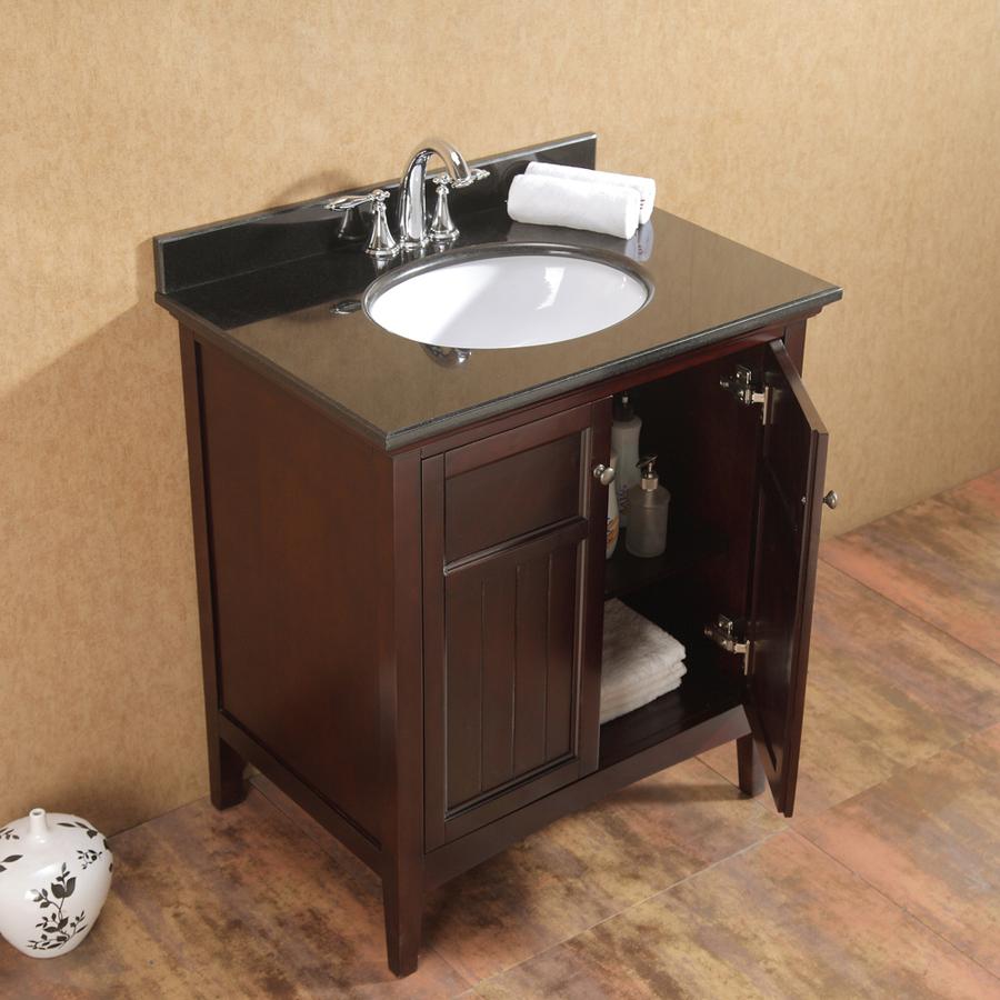 Ove Decors Gavin Tobacco 30 In Undermount Single Sink Birch Bathroom Vanity With Granite Top In The Bathroom Vanities With Tops Department At Lowes Com