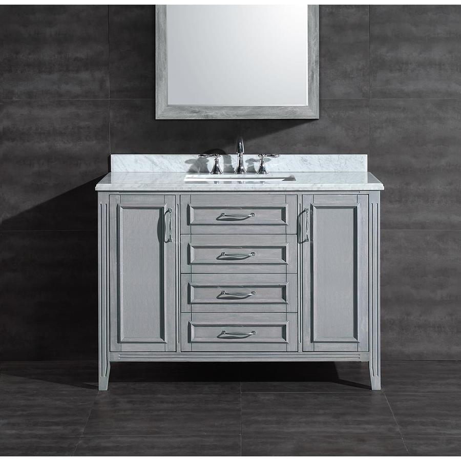 Lowes Bathroom Vanities 48: Shop Ove Decors Grey Undermount Single Sink Birch Bathroom