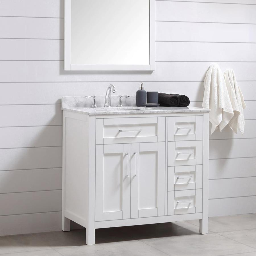 Ove Decors Tahoe 36 In White Undermount Single Sink Bathroom Vanity With White Carrara Natural Marble Top Mirror Included In The Bathroom Vanities With Tops Department At Lowes Com