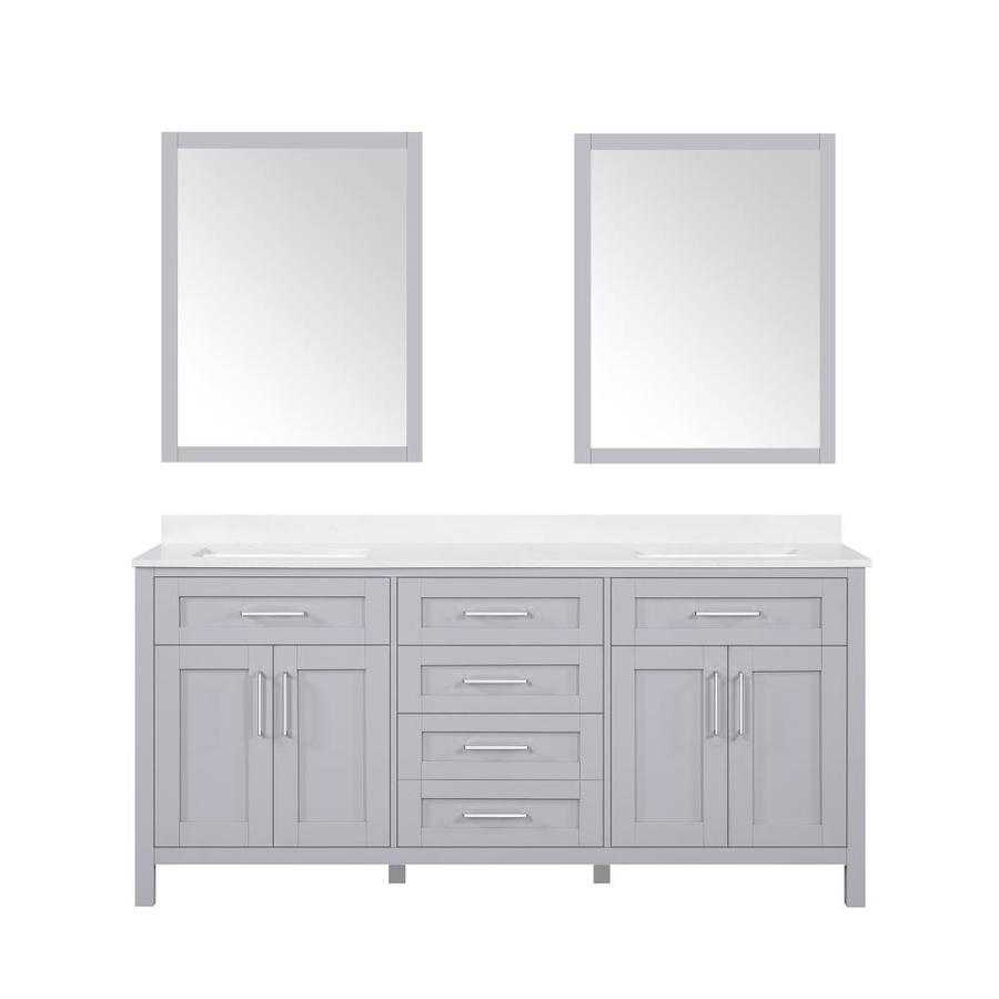 Ove Decors Tahoe 72 In Dove Gray Undermount Double Sink Bathroom Vanity With White Engineered Stone Top Mirror Included In The Bathroom Vanities With Tops Department At Lowes Com