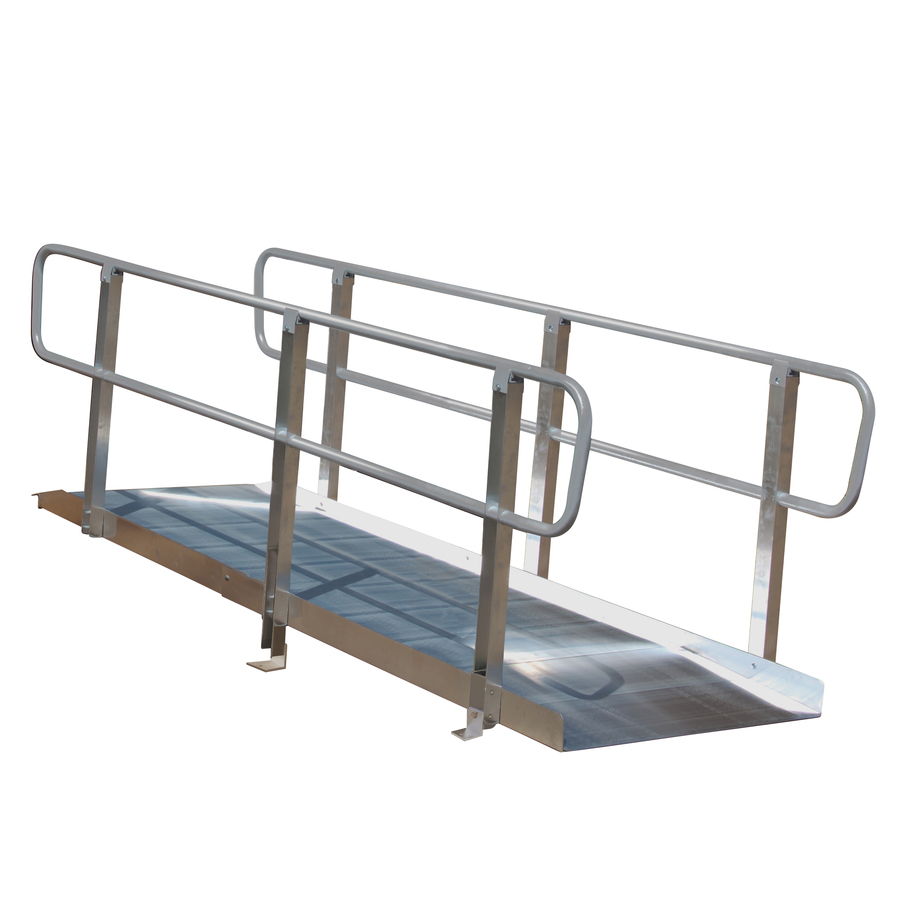Prairie View Industries 8-Ft X 36-In Aluminum Solid Entryway Wheelchair Ramp Xps836