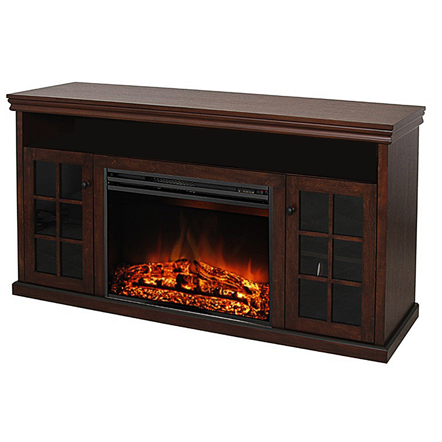Shop Style Selections 57-in W 5,115-BTU Walnut Wood and ...