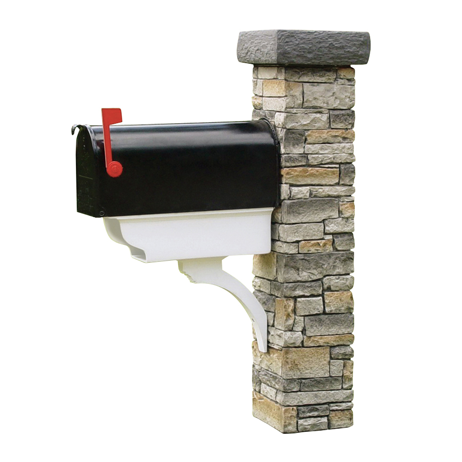 Shop Eye Level Gray Cast Stone Mailbox Post At Lowes Com