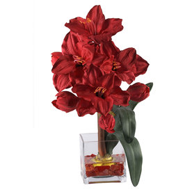 Nearly Natural 20-In Red Holiday Silk Arrangement 1110-Rd