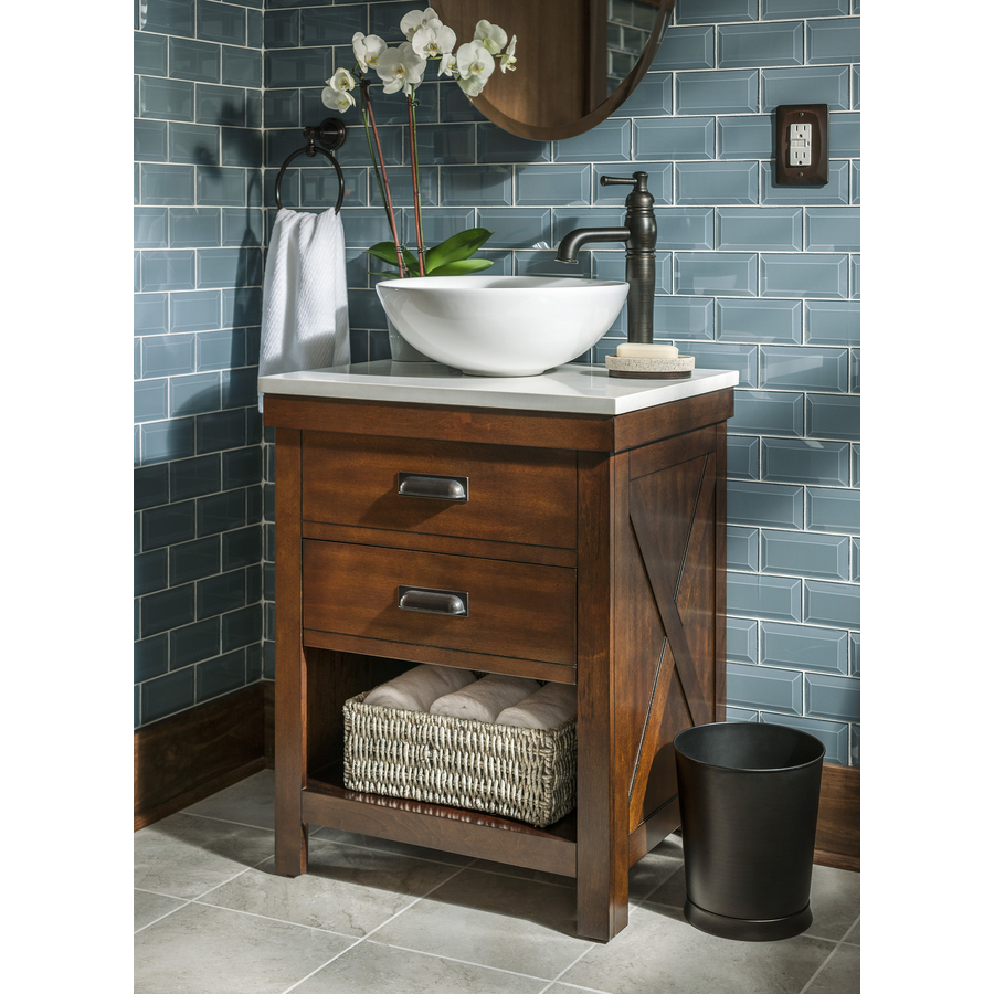 Style Selections Cromlee 24 In Bark Single Sink Bathroom Vanity With White Engineered Stone Top Faucet Included In The Bathroom Vanities With Tops Department At Lowes Com