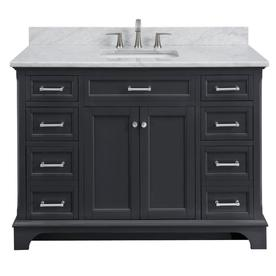 Display Product Reviews For Roveland Dark Gray Single Sink Vanity With Carrara Natural Marble Top