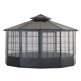 SunJoy Allison Pavilion Black Steel Octagon Screen Includ...