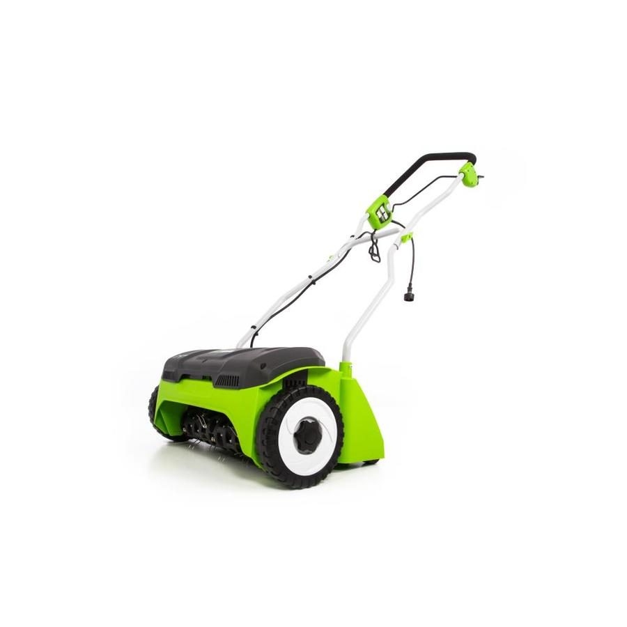 Greenworks 14 In Dethatcher In The Dethatchers Department At Lowes Com Greenworks 10 amp electric dethatcher uses durable stainless steel tines. greenworks 14 in dethatcher in the dethatchers department at lowes com