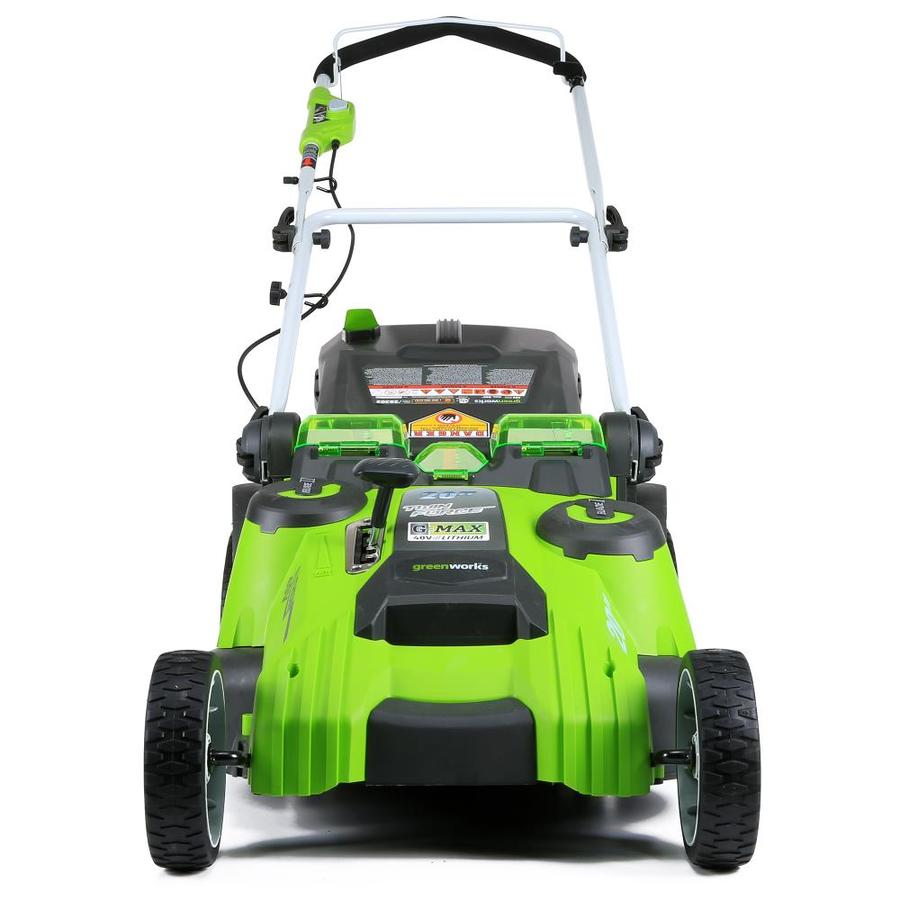 Greenworks 40 Volt Lithium Ion Push 20 In Cordless Electric Lawn Mower Battery Included In The Cordless Electric Push Lawn Mowers Department At Lowes Com