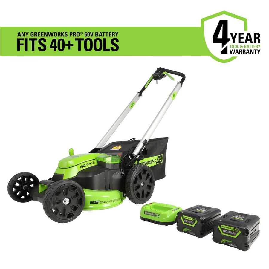 60-Volt Brushless Lithium Ion Self-Propelled 25-In Cordless Electric Lawn Mower - Greenworks Pro MO60L423