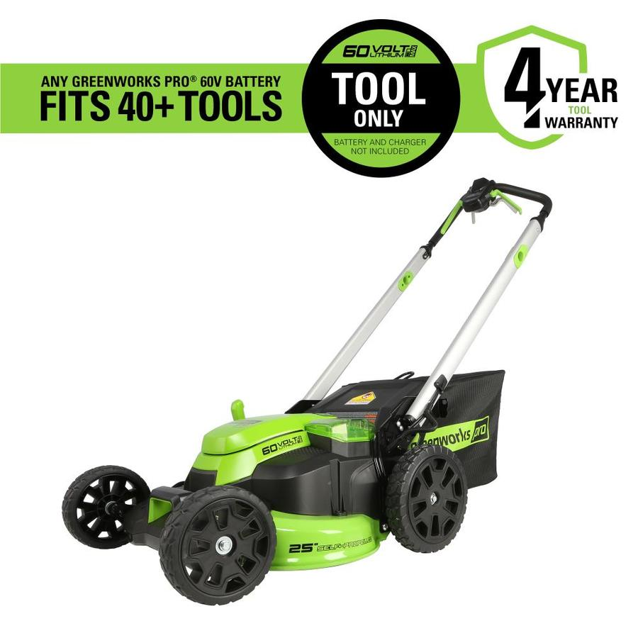 60-Volt Brushless Lithium Ion Self-Propelled 25-In Cordless Electric Lawn Mower - Greenworks Pro MO60L03