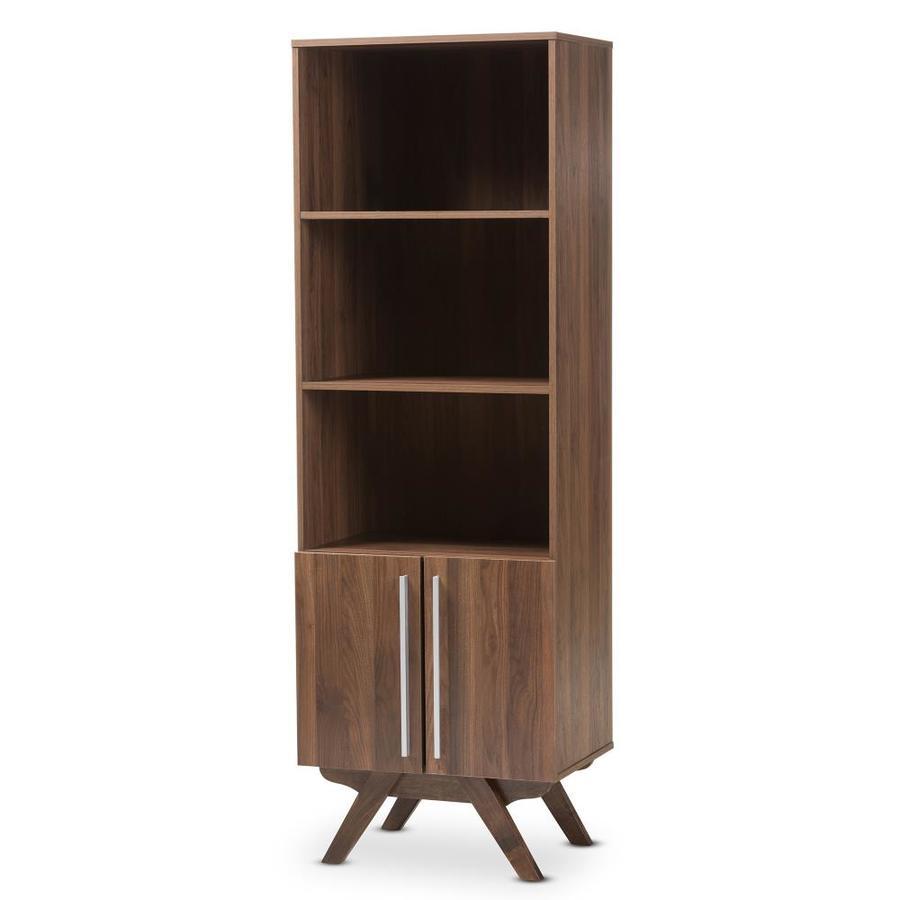 Baxton Studio Ashfield Walnut 3-Shelf Modular Bookcase 141-7981-Lw