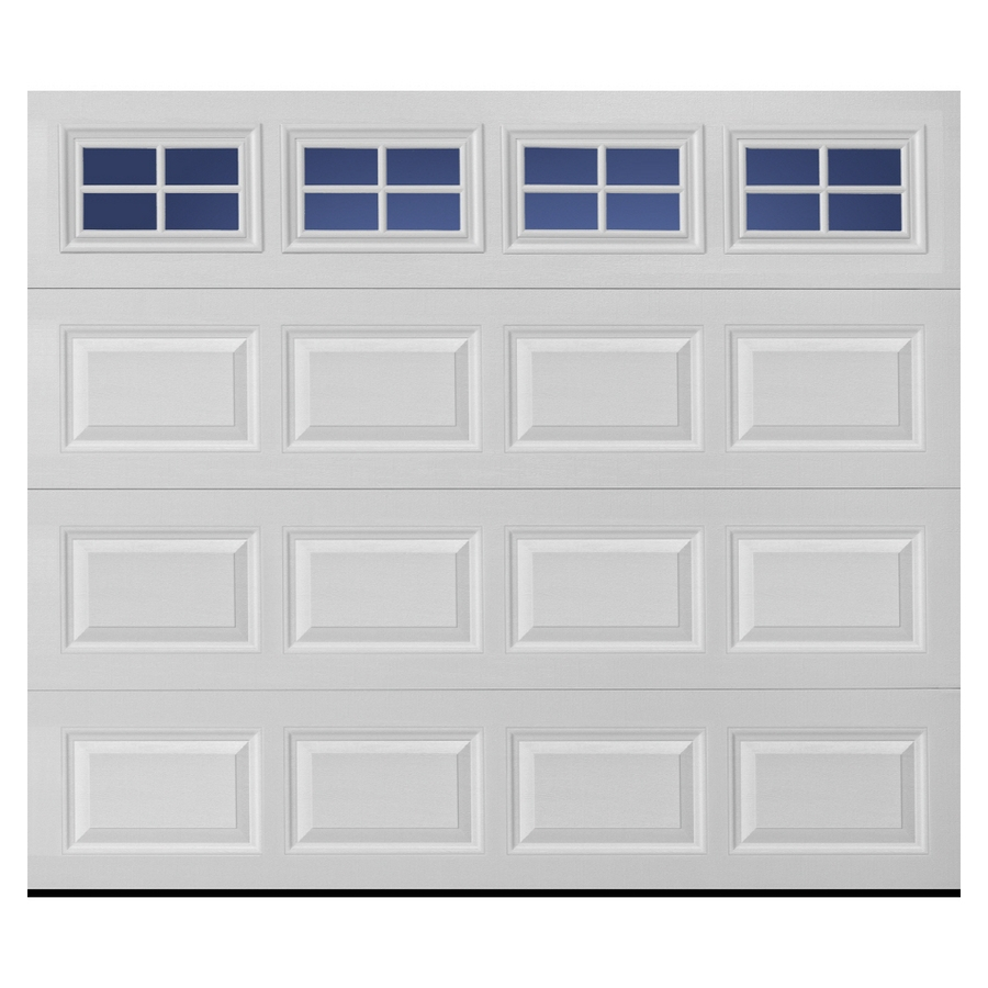 Pella Traditional 108-in x 84-in Insulated White Single Garage Door with Windows | 123458