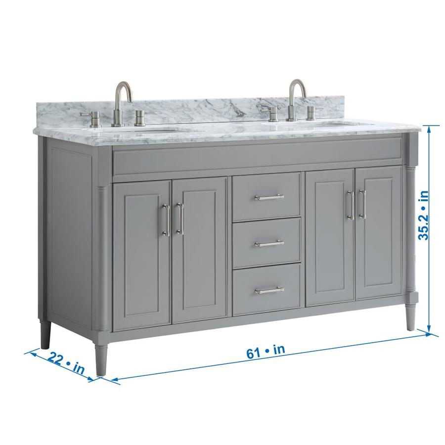 Allen Roth Perrella 61 In Light Gray Undermount Double Sink Bathroom Vanity With Carrera White Natural Marble Top In The Bathroom Vanities With Tops Department At Lowes Com