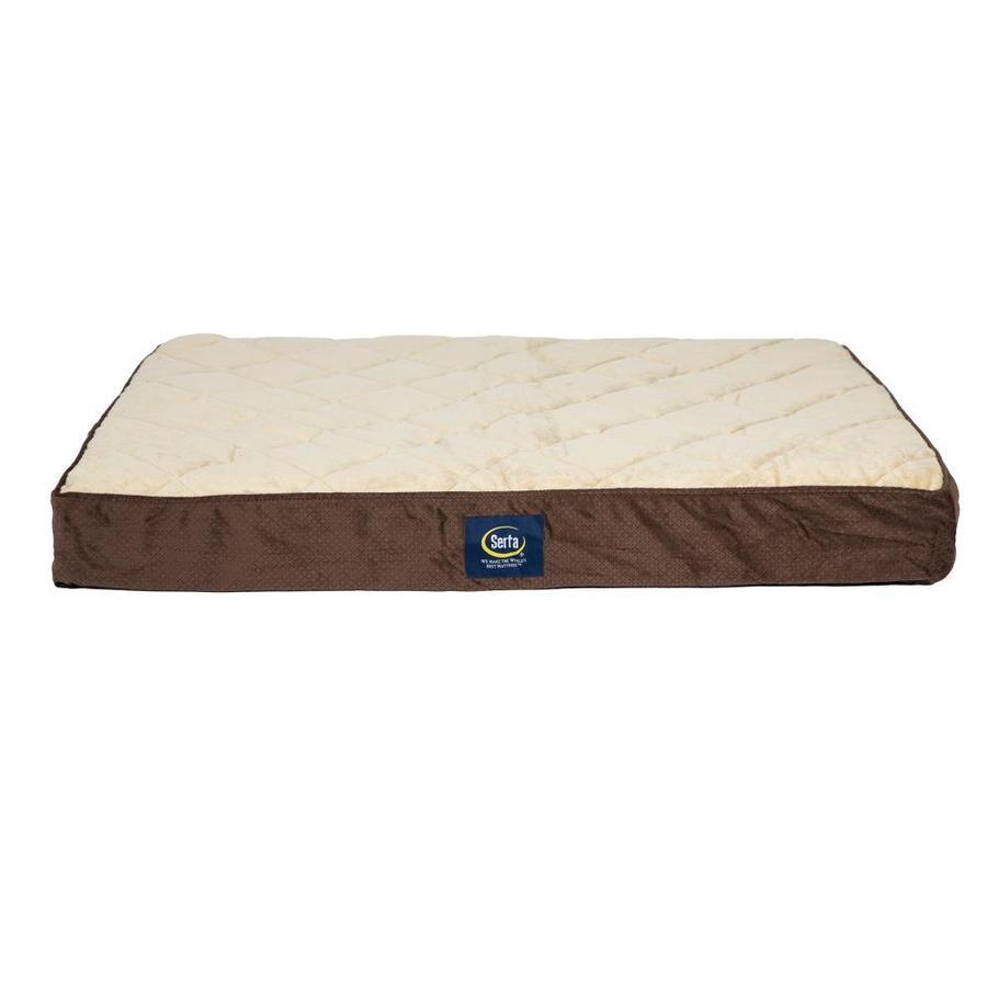 Dark Brown 100% Polyester Rectangular Dog Bed (Fits Most)   - Serta 2610346