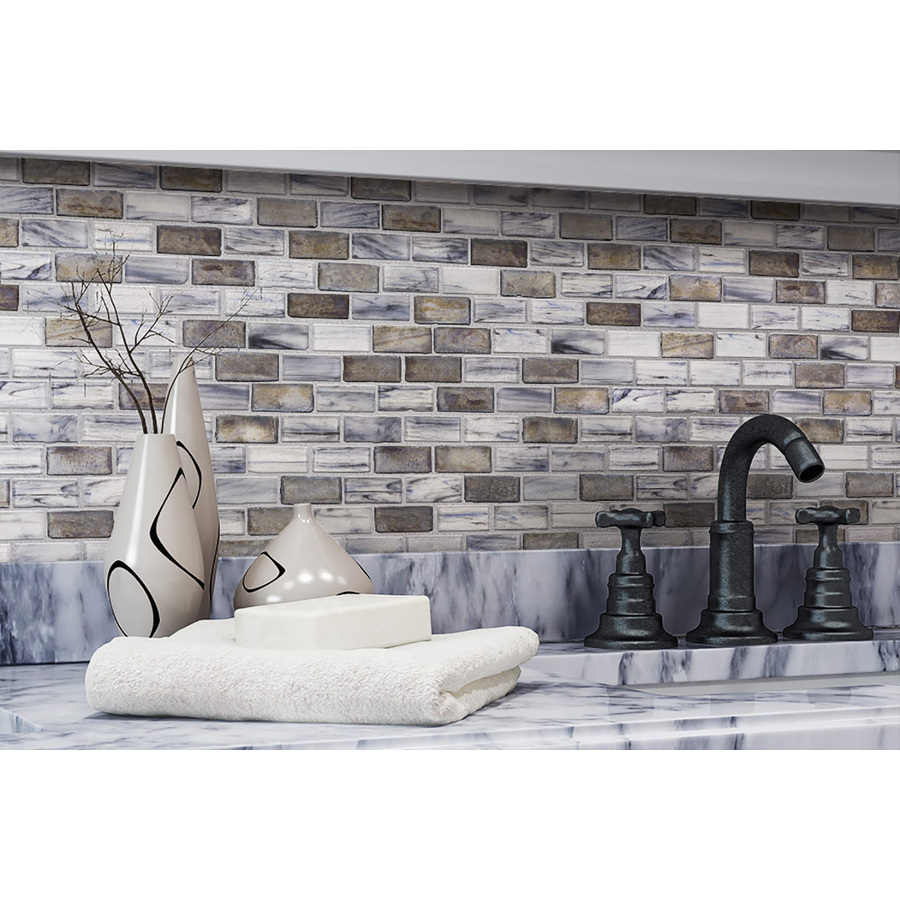 - Elida Ceramica Melted Glacier Brick Mosaic Glass Wall Tile (Common