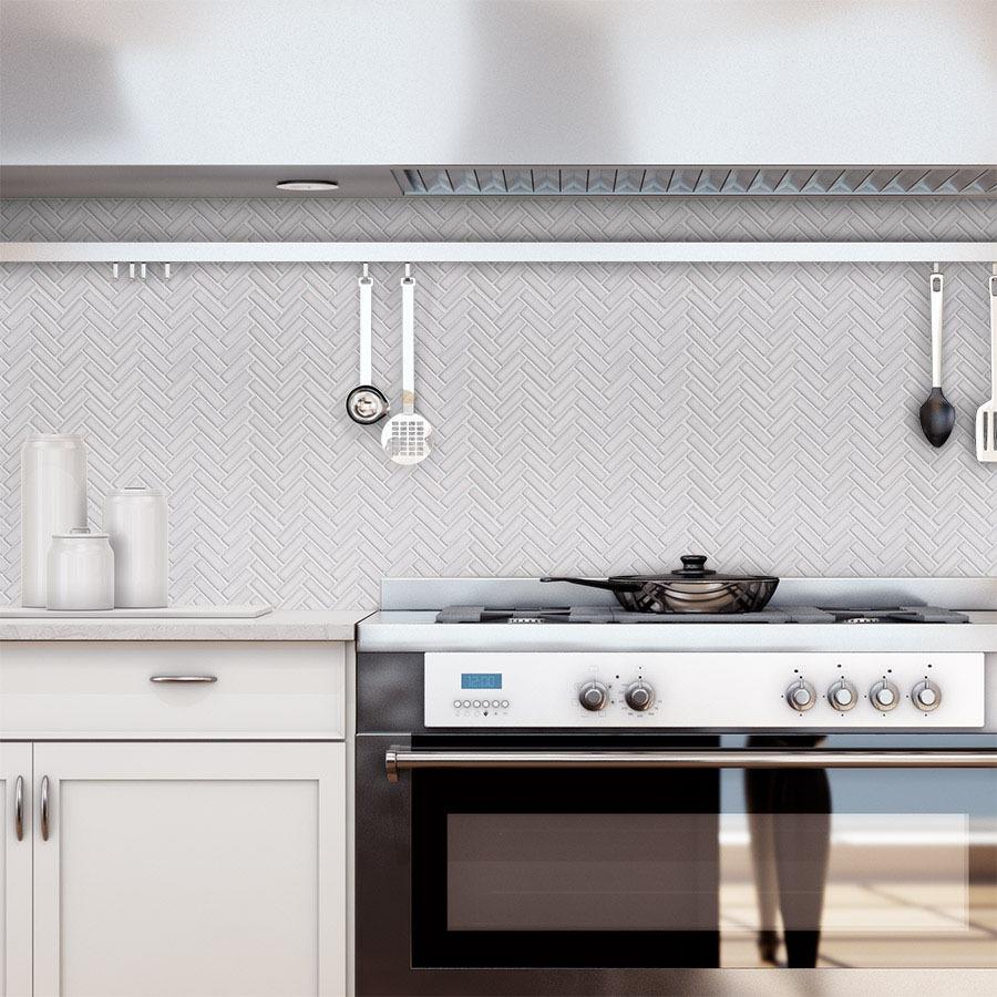 - Elida Ceramica Chelsea White 12-in X 12-in Ceramic Herringbone