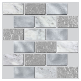 display product reviews for peel and stick 4pack whispering clouds linear mosaic composite wall