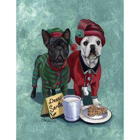 Precious Pet Paintings 1.5-ft x 1.04-ft French Bulldog Christmas Flag GF1080