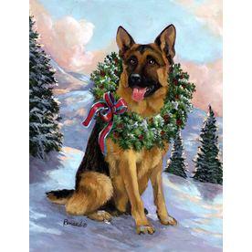 Precious Pet Paintings 1.5-ft x 1.04-ft German Shepherd Christmas Flag GF1068