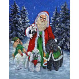 Precious Pet Paintings 1.5-ft x 1.04-ft Poodle Christmas Flag GF1041