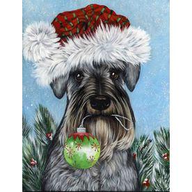 Precious Pet Paintings 1.5-ft x 1.04-ft Schnauzer Christmas Flag GF547