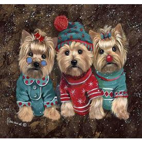 Precious Pet Paintings 1.5-ft x 1.04-ft Yorkshire Terrier Christmas Flag GF544