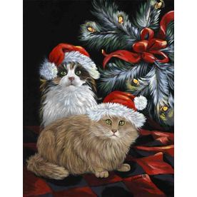 Precious Pet Paintings 3.33-ft x 2.33-ft Cat Christmas Flag LF551