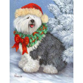 Precious Pet Paintings 3.33-ft x 2.33-ft Old English Sheepdog Christmas Flag LF1083