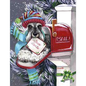 Precious Pet Paintings 3.33-ft x 2.33-ft Schnauzer Christmas Flag LF1072