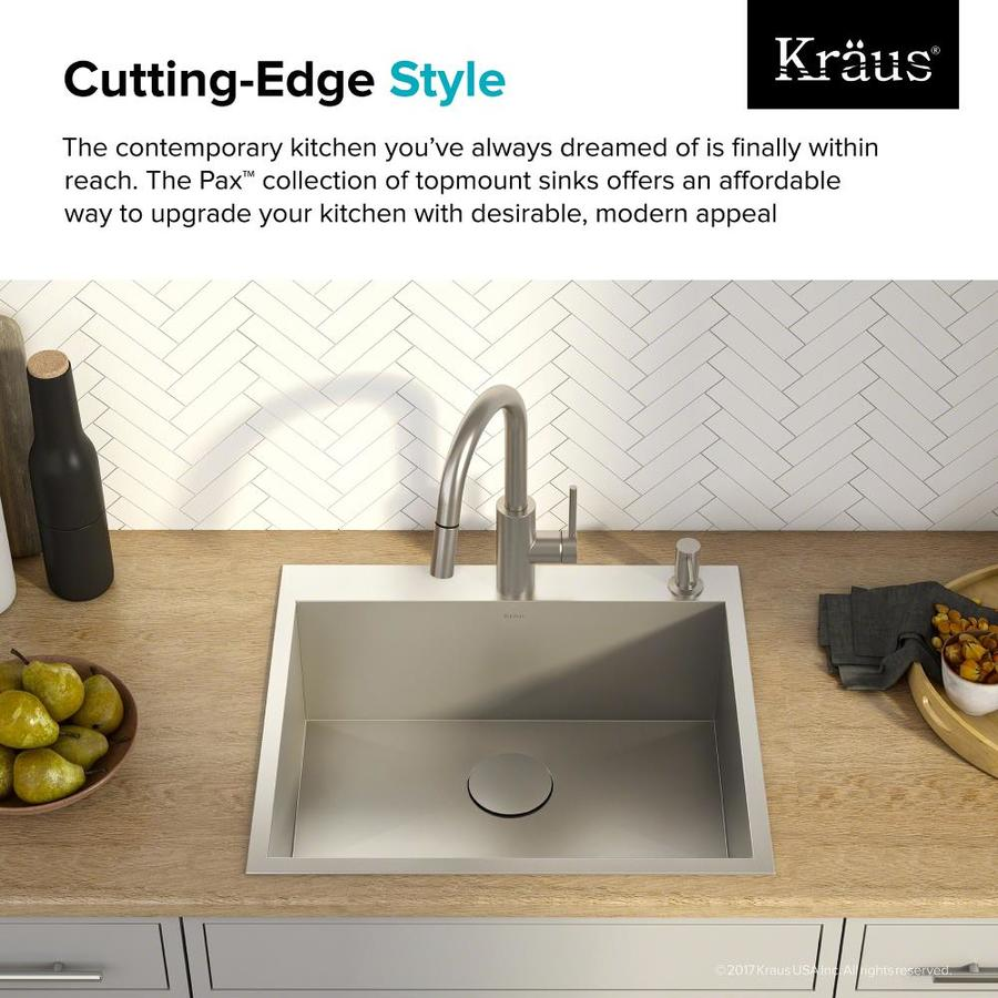 Kraus Pax Drop In 25 In X 22 In Satin Single Bowl 1 Hole Kitchen Sink In The Kitchen Sinks Department At Lowes Com