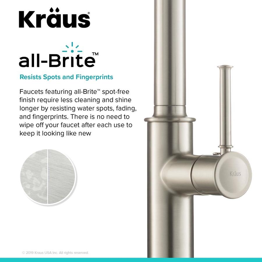 Kraus Sellette Stainless Steel 1 Handle Deck Mount Pull Down Handle Kitchen Faucet Deck Plate Included In The Kitchen Faucets Department At Lowes Com