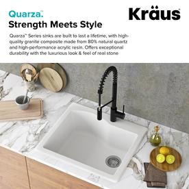 Kraus Quarza Dual Mount 25 In X 22 In White Single Bowl 1 Hole Kitchen Sink In The Kitchen Sinks Department At Lowes Com