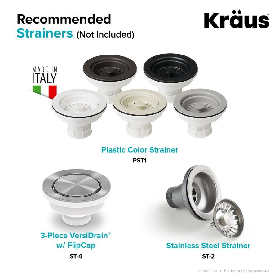 Kraus Quarza Dual Mount 33 In X 22 In Black Double Offset Bowl 1 Hole Kitchen Sink In The Kitchen Sinks Department At Lowes Com