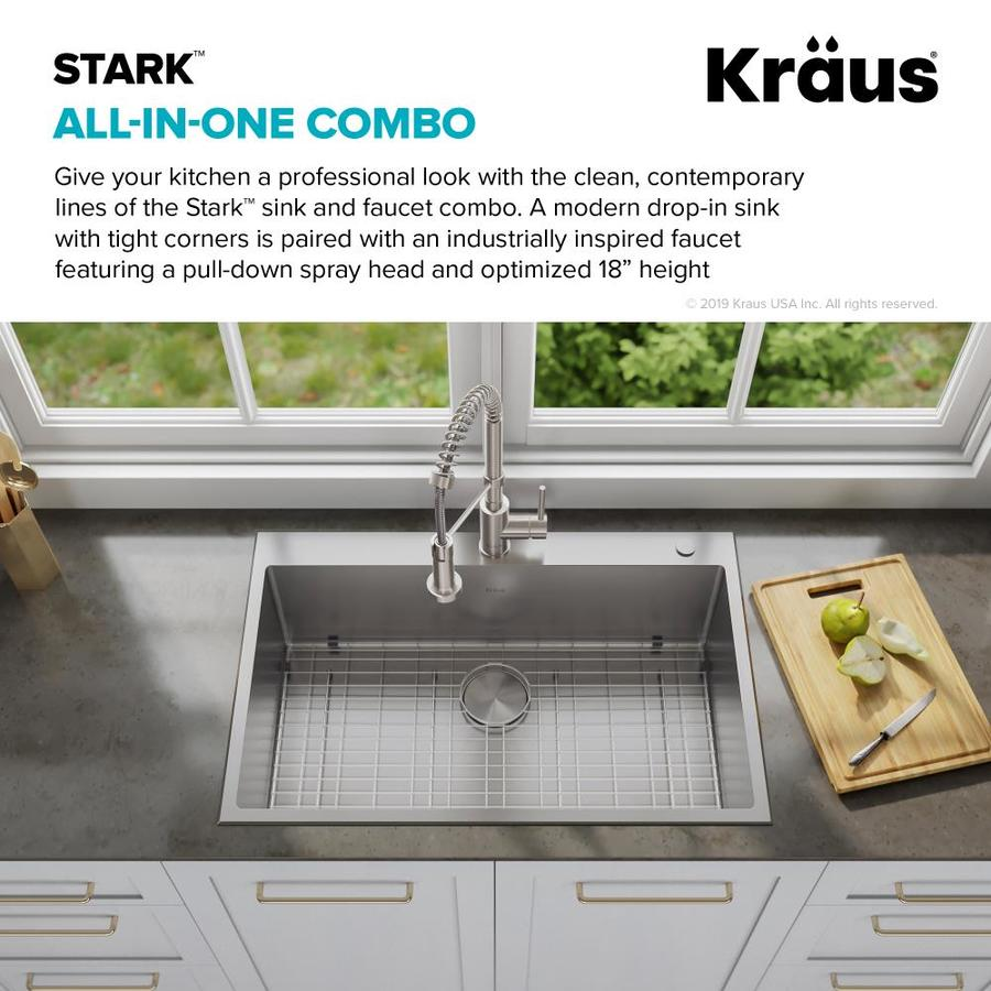 Kraus Stark Dual Mount 30 5 In X 22 In Stainless Steel Single Bowl 2 Hole Kitchen Sink All In One Kit In The Kitchen Sinks Department At Lowes Com