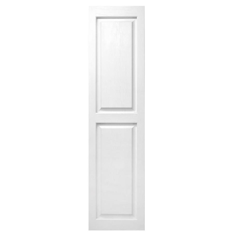 Alpha 2-Pack 15-in W x 59-in H Paintable Raised Panel Vinyl Exterior Shutters in White | VBLRP59