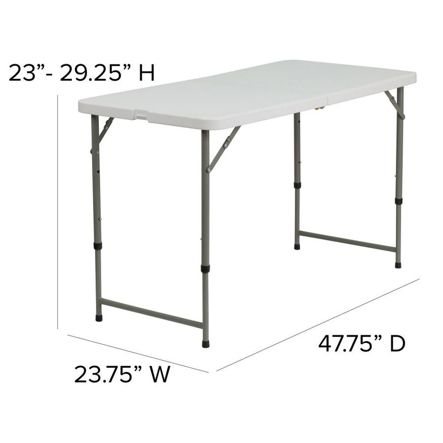 Flash Furniture 2 Ft X 4 Ft Indoor Rectangle Plastic White Folding Banquet Table In The Folding Tables Department At Lowes Com