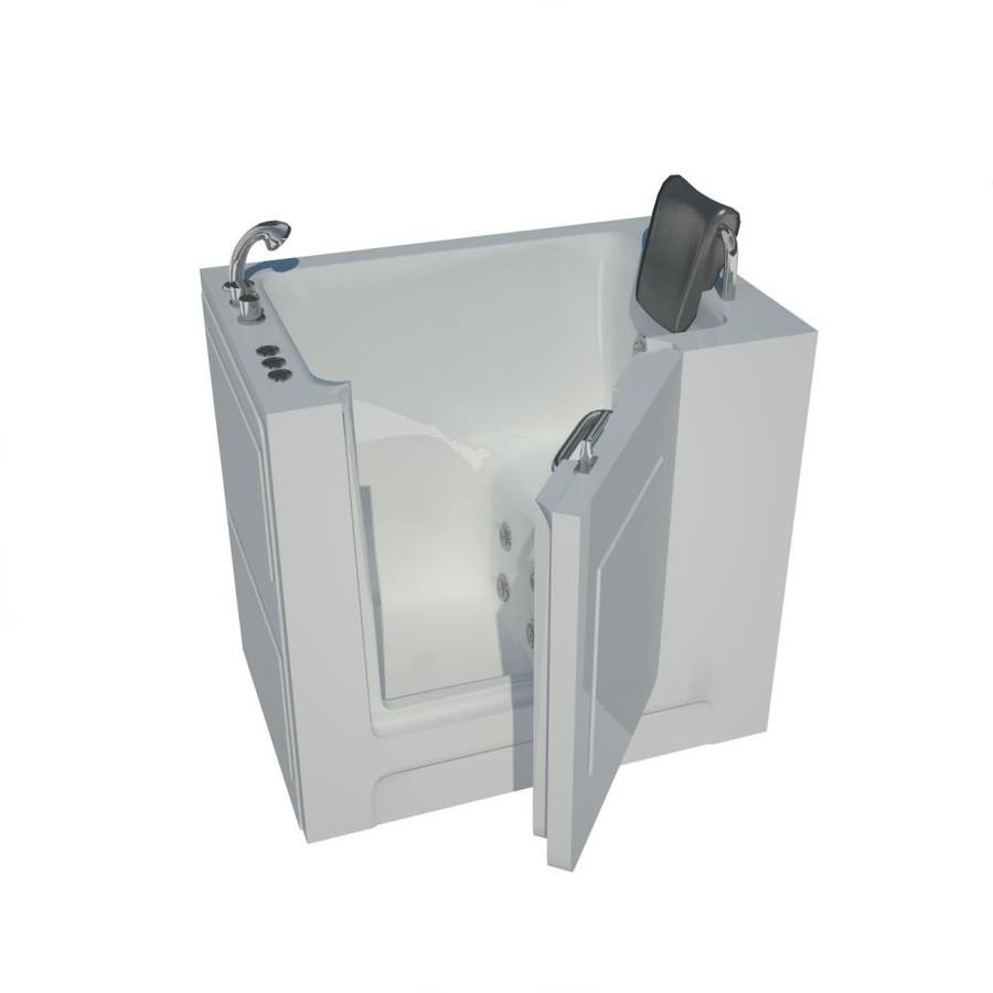 Endurance 27-In W X 38.5-In L White Acrylic Rectangular Left-Hand Drain Walk-In Whirlpool Tub And Faucet Included Ls2739