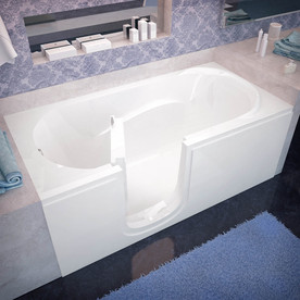 Endurance 30 In W X 60 In L White Acrylic Rectangular Left Drain Walk In Soaking In The Bathtubs Department At Lowes Com