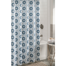 Display Product Reviews For Polyester Blue Patterneded Shower Curtain 72 In X