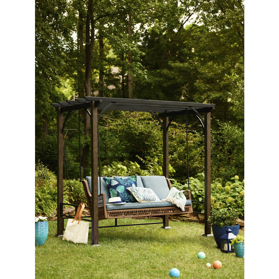 Allen Roth Swings 3 Person Brown Stainless Steel Outdoor Swing In The Porch Swings Gliders Department At Lowes Com