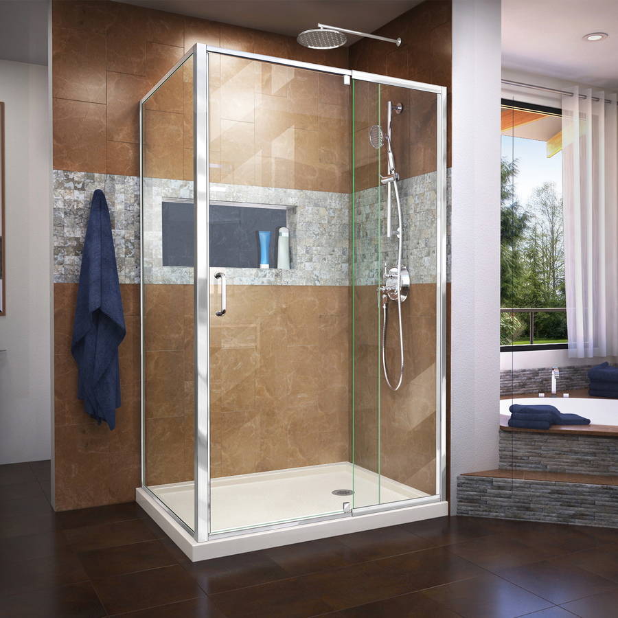 DreamLine Flex Base Color: Biscuit Floor Rectangle 2-Piece Corner Shower Kit (Actual: 74.75-in x 48-in x 36-in) in Off-White | DL-6719R-22-01