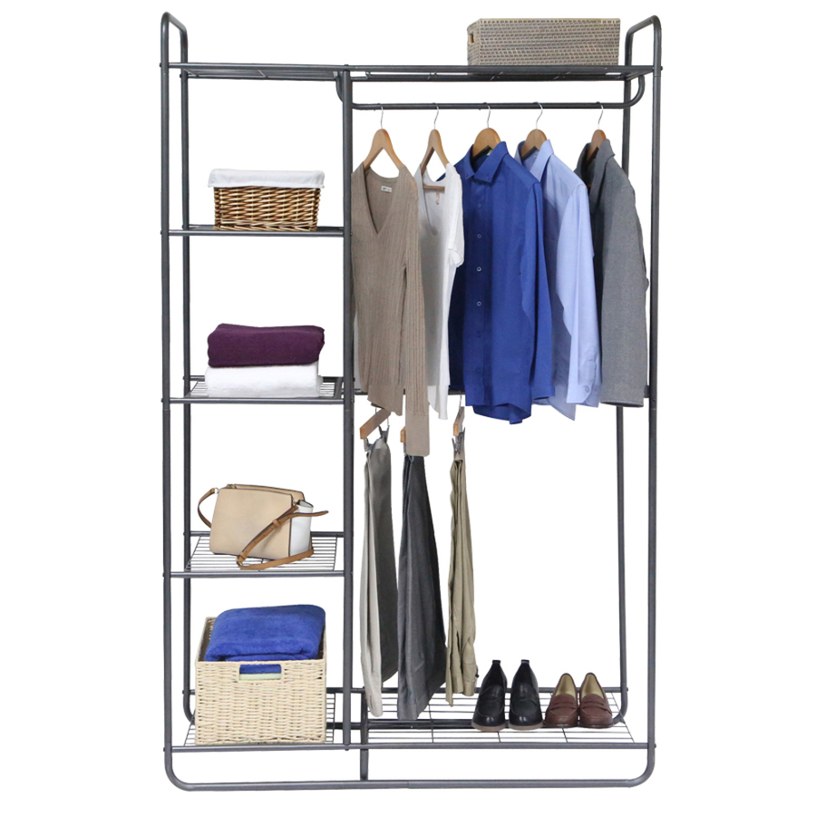 Metal Modern Closet Organizer Storage Rack Clothes Hanger Home Garment Shelf Rod