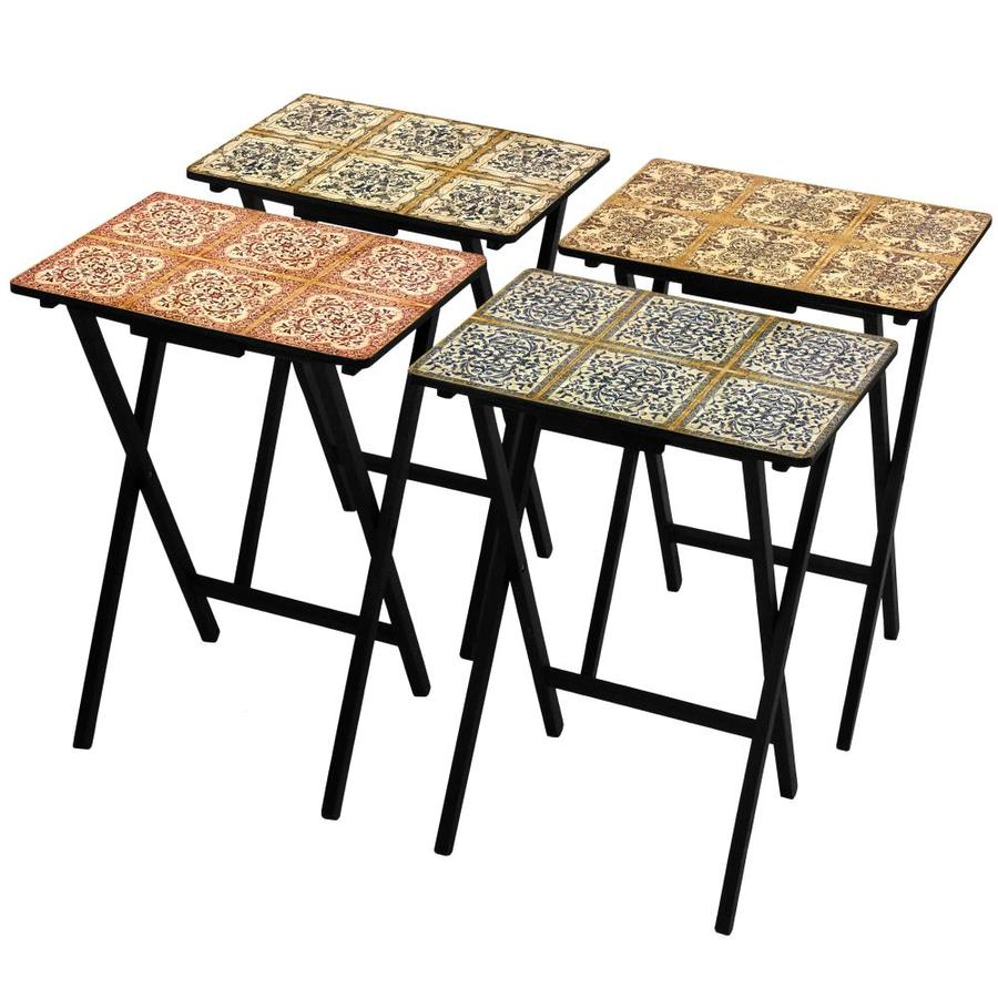 Red Lantern 19-in x 13.75-in Indoor Rectangle Wood Black Folding Table | CAN-TVSET-TILE