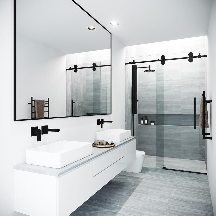 Vigo Elan 74 In H X 44 In To 48 In W Frameless Bypass Sliding Matte Black Shower Door Clear Glass In The Shower Doors Department At Lowes Com