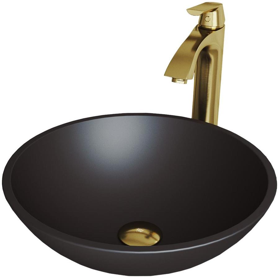 Vigo Cavalli Matteshell Glass Vessel Round Bathroom Sink With Faucet Drain Included 15 In X 15 In In The Bathroom Sinks Department At Lowes Com