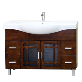 Display Product Reviews For Medium Walnut Integral Single Sink Bathroom  Vanity With Vitreous China Top (