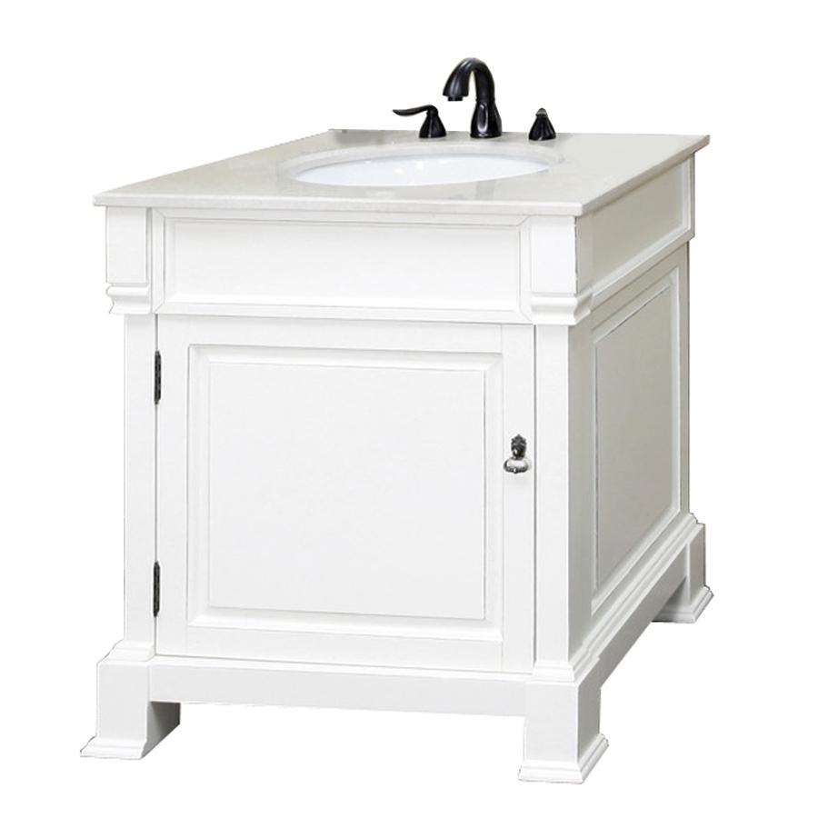 Shop bellaterra home white rub edge undermount single - 30 bathroom vanity with marble top ...